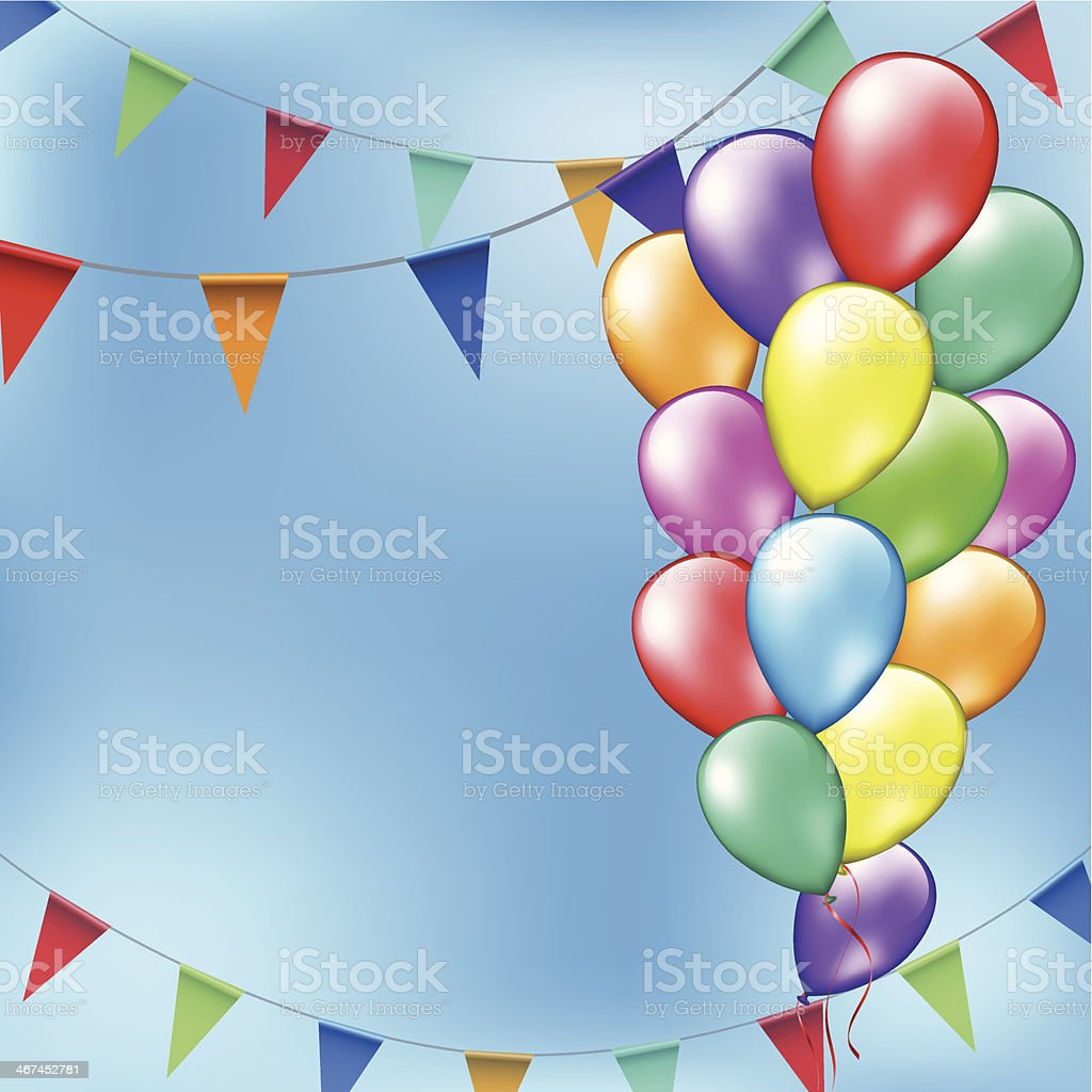 Partyrahmen Mit Ballons Und Party Flags Stock Vektor Art und mehr ...