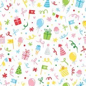 Party accessories fun seamless pattern