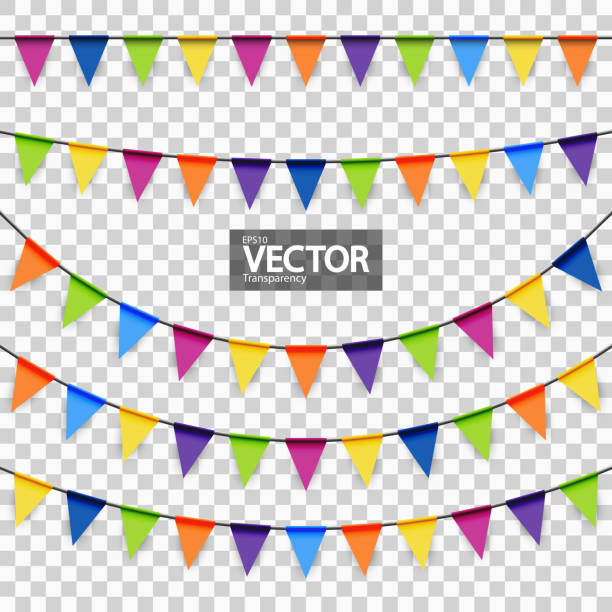 party garlands colored colored garlands background collection for party or festival usage pennant stock illustrations