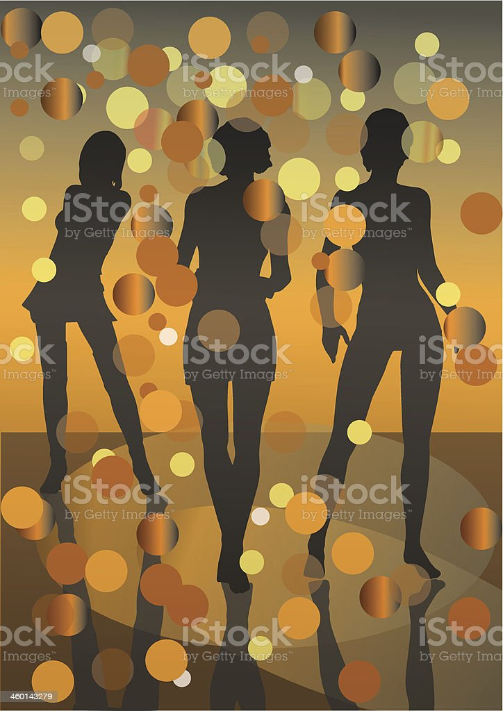 party girls gold royalty-free stock vector art