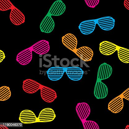 Vector illustration of multi-colored party glasses in a repeating pattern against a black background.