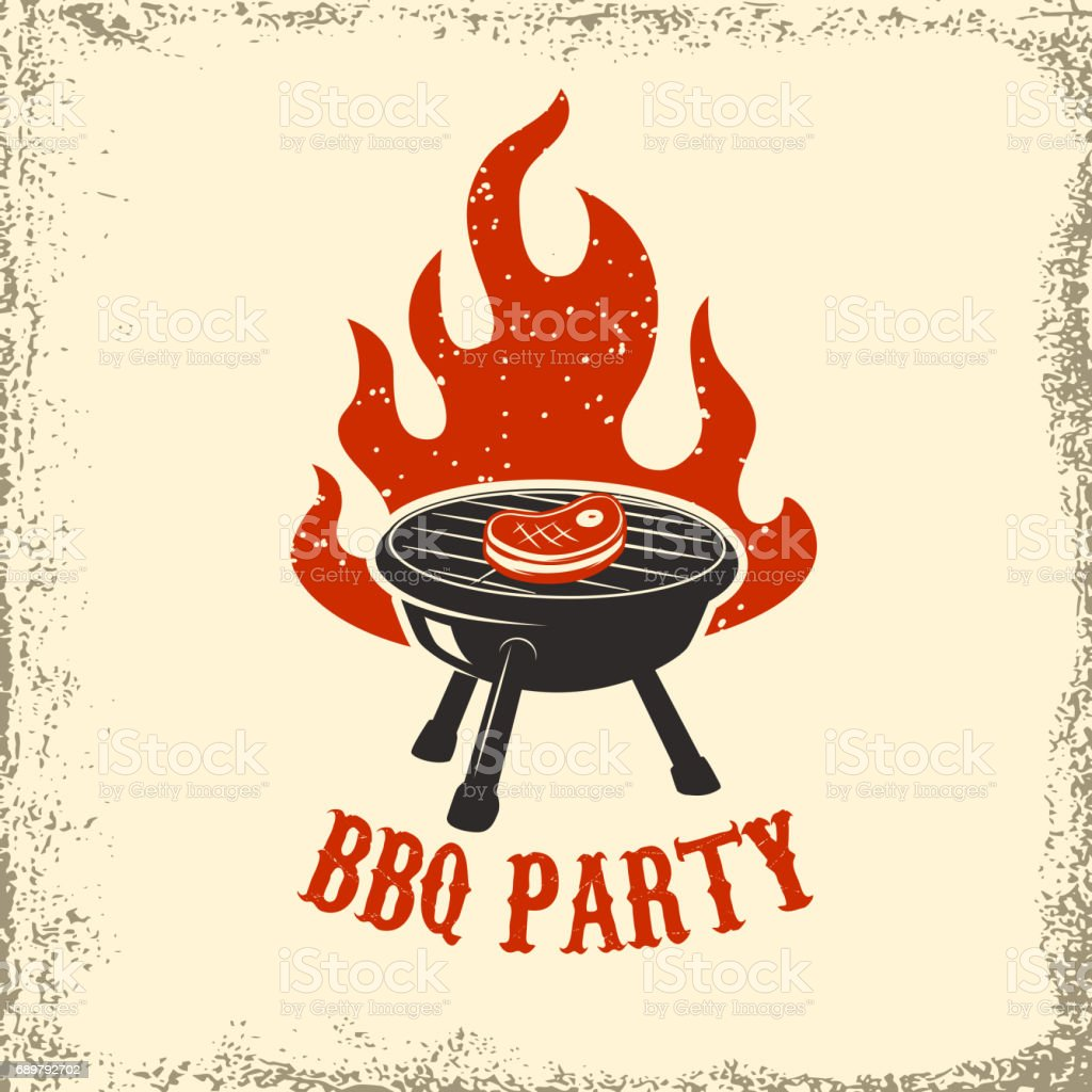 BBQ party. Grill with fire on grunge background. Design element for poster, restaurant menu. Vector illustration. - illustrazione arte vettoriale