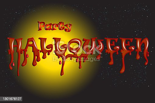 istock Party Halloween bloody word background 1301676127