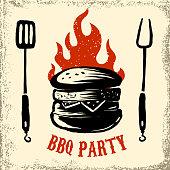 BBQ party. Hand drawn burger illustration on grunge background. Design element for menu, poster, emblem, sign. Vector illustration