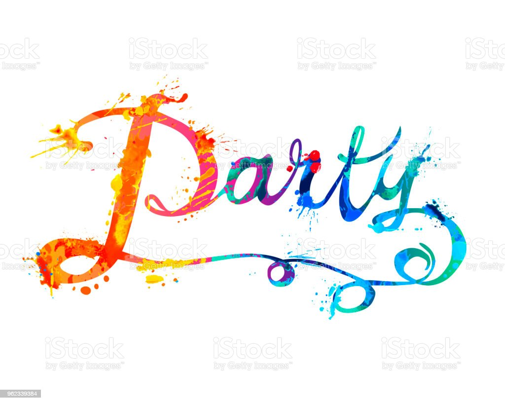 party hand written word of splash paint stock vector art more