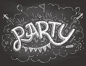Party hand-lettering invitation on chalkboard