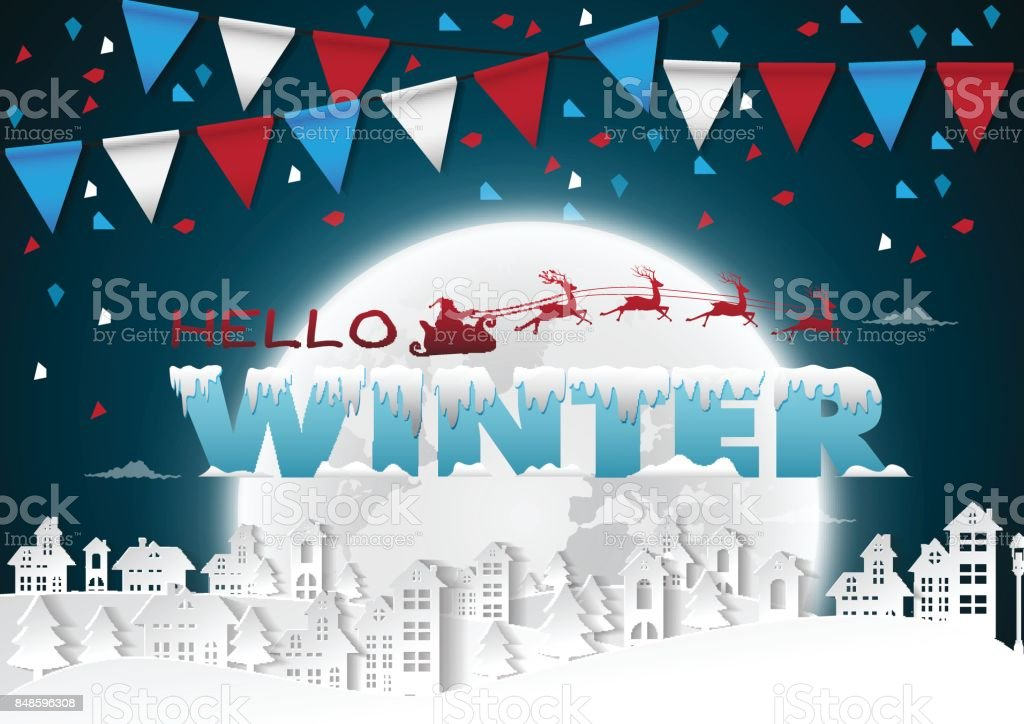 Party Happy winter on urban and full moon background with flags,vector illustration. vector art illustration