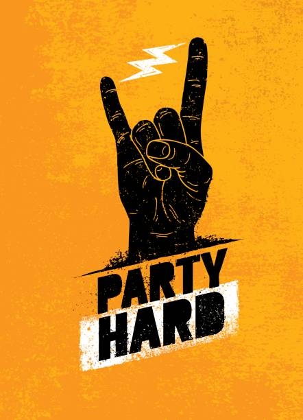 Party Hard Motivation créative bannière vecteur Concept sur Grunge en Difficulté fond - Illustration vectorielle