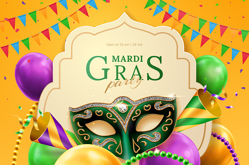 Party hat and masquerade mask at mardi gras banner