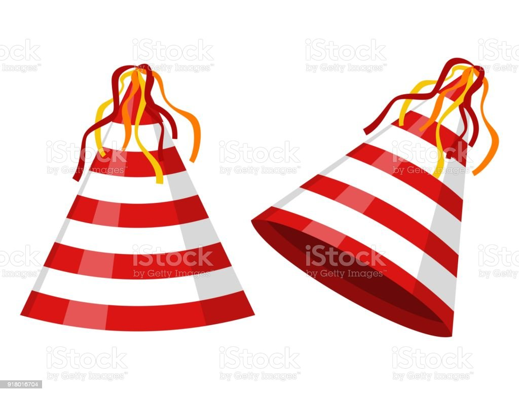 Party Hat Cone Striped Isolated On White Background Accessory Symbol