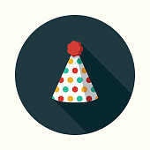 Party Hat Flat Design Party Icon with Side Shadow
