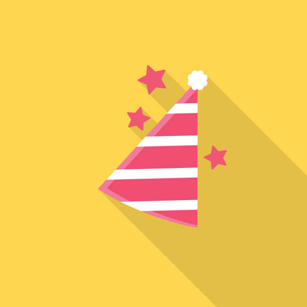 Party Hat Icon With Long Side Shadow vector art illustration