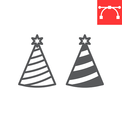 Party hat line and glyph icon