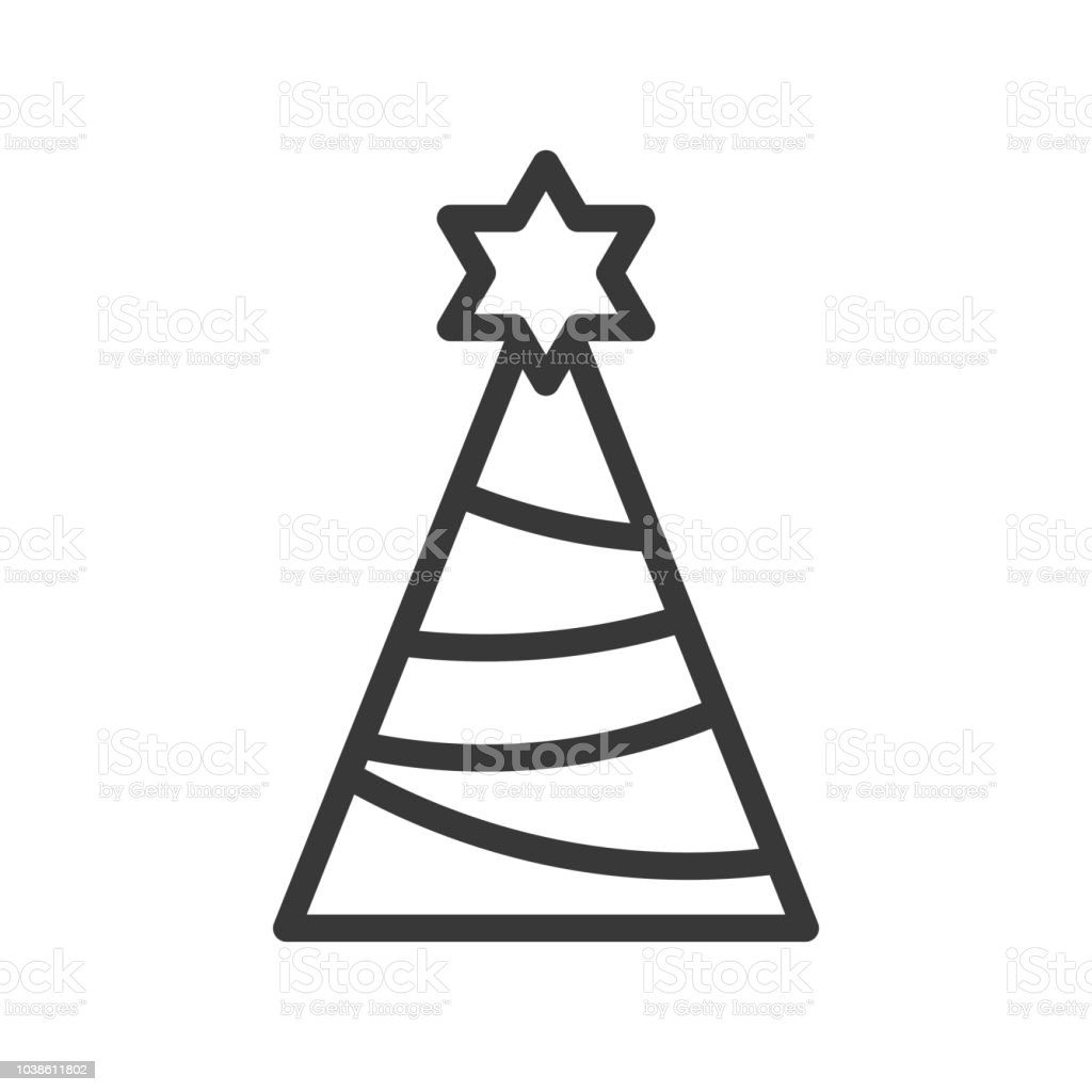 Party Hat Or Pine Tree With Star Of David Merry Christmas Icon Set ...