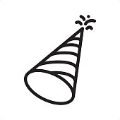 Party Hat - Outline Icon - Pixel Perfect