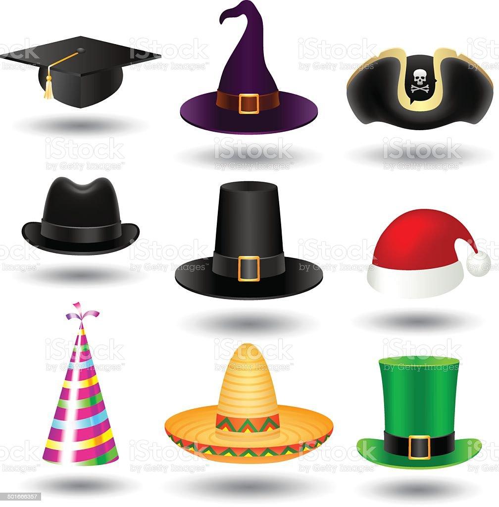 Party hat set vector art illustration