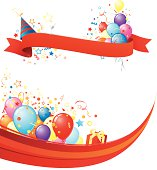 Vector illustration of party header with ribbon and flowing wavy footer full of balloons and fun!