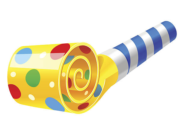 party horn blower vector art illustration