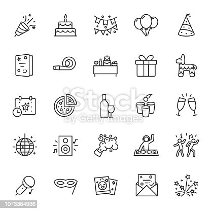Party, icon set. Celebration, birthday, editable stroke