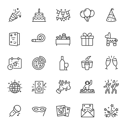 Party, icon set. Celebration, birthday, linear icons. Line with editable stroke clipart