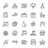 Party, icon set. Celebration, birthday, editable stroke