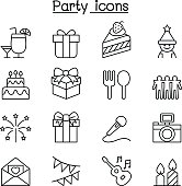 Party icon set in thin line style