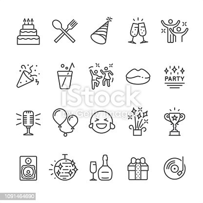 Party theme related outline vector icon set.  20 Outline style black and white icons / Set #49 Pixel Perfect Principle - all the icons are designed in 64x64px grid, outline stroke 2px.  CONTENT BY ROWS  First row of icons contains: Cake icon, Food icon, Party Hat, Cheers! (champagne glasses), Party hard;  Second row contains: Party Popper icon, Drinks, Dancing icon, Lips icon, Party Icon;  Third row contains: Microphone (karaoke), Balloons, LOL icon, Fireworks, Trophy Cup (Award);   Fourth row contains: Audio speaker, Disco ball, Wine bottle and Glass, Gift box, DJ Party icon (Vinyl record).  Look at complete Unico PRO collection - https://www.istockphoto.com/collaboration/boards/dB-NuEl7GUGbQYmVq9IlDg