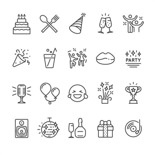 ilustraciones, imágenes clip art, dibujos animados e iconos de stock de iconos de fiesta - íconos de festividades