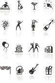 Set of 16 Party icons.