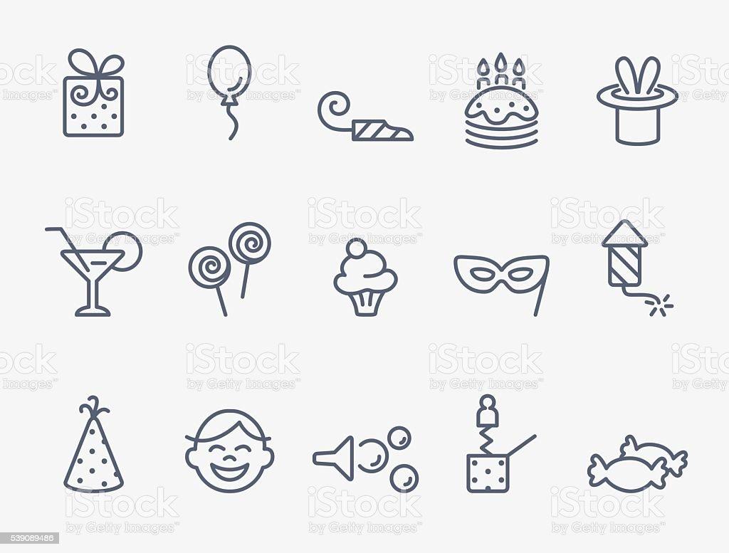 Ícones de festa - ilustração de arte em vetor