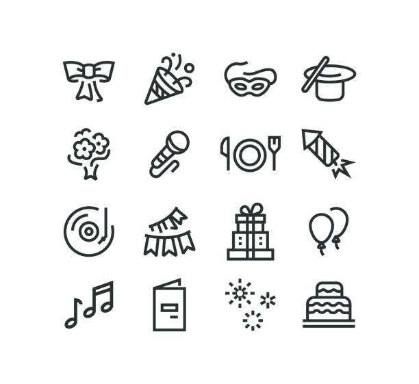 ilustraciones, imágenes clip art, dibujos animados e iconos de stock de grupo de iconos - íconos de festividades