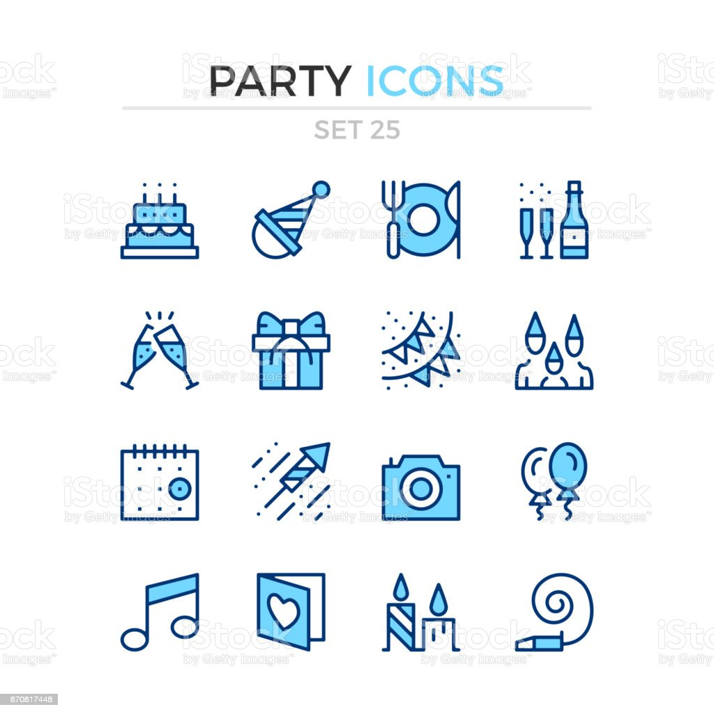 Party icons. Vector line icons set. Premium quality. Stroke, linear style. Simple thin line design. Modern outline symbols, pictograms