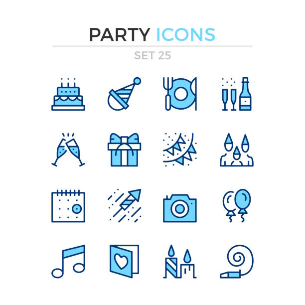 party icons. vector line icons set. premium quality. stroke, linear style. simple thin line design. modern outline symbols, pictograms - happy birthday cake stock illustrations, clip art, cartoons, & icons