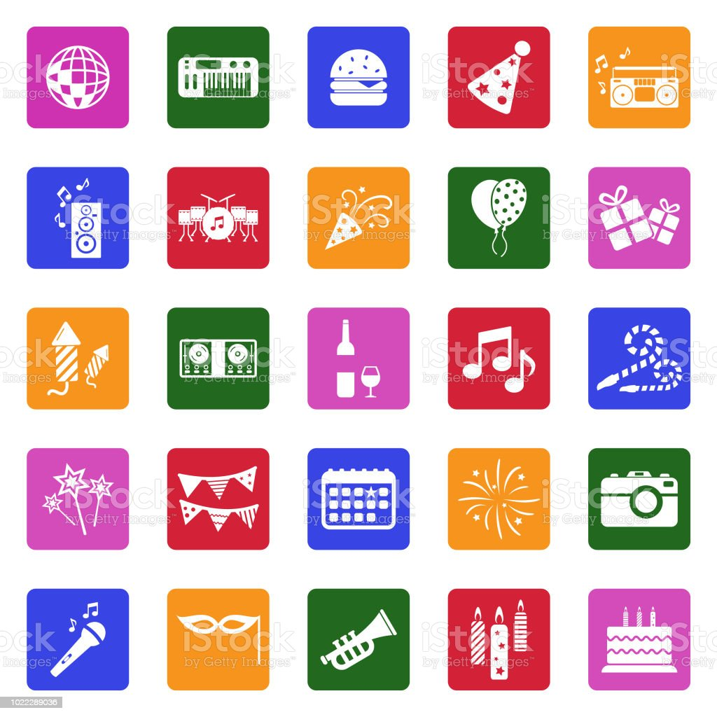 Party Icons White Flat Design In Square Vector Illustration Stock