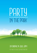 Poster for a party in the park with a landscape and trees