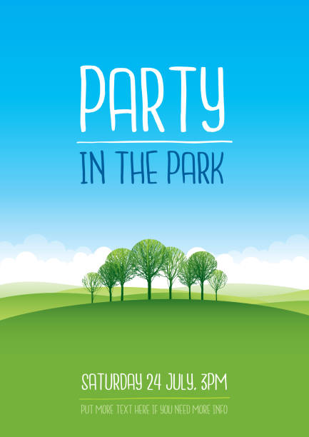 Party in the park poster vector art illustration