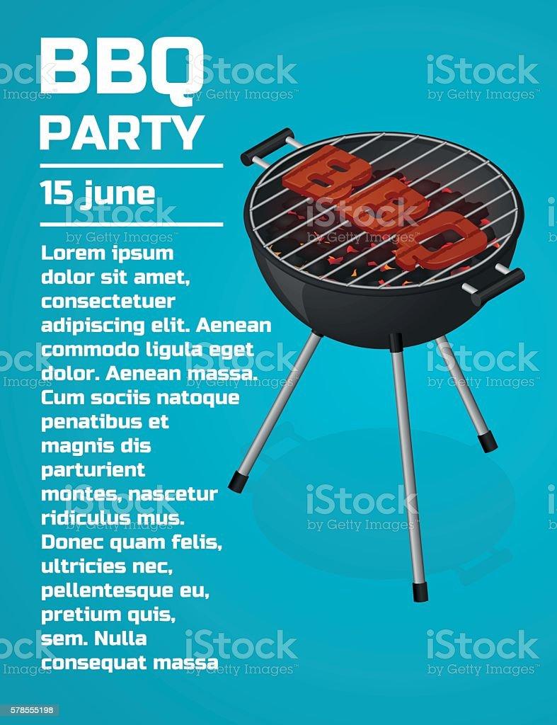 BBQ Party invitation background. vector art illustration
