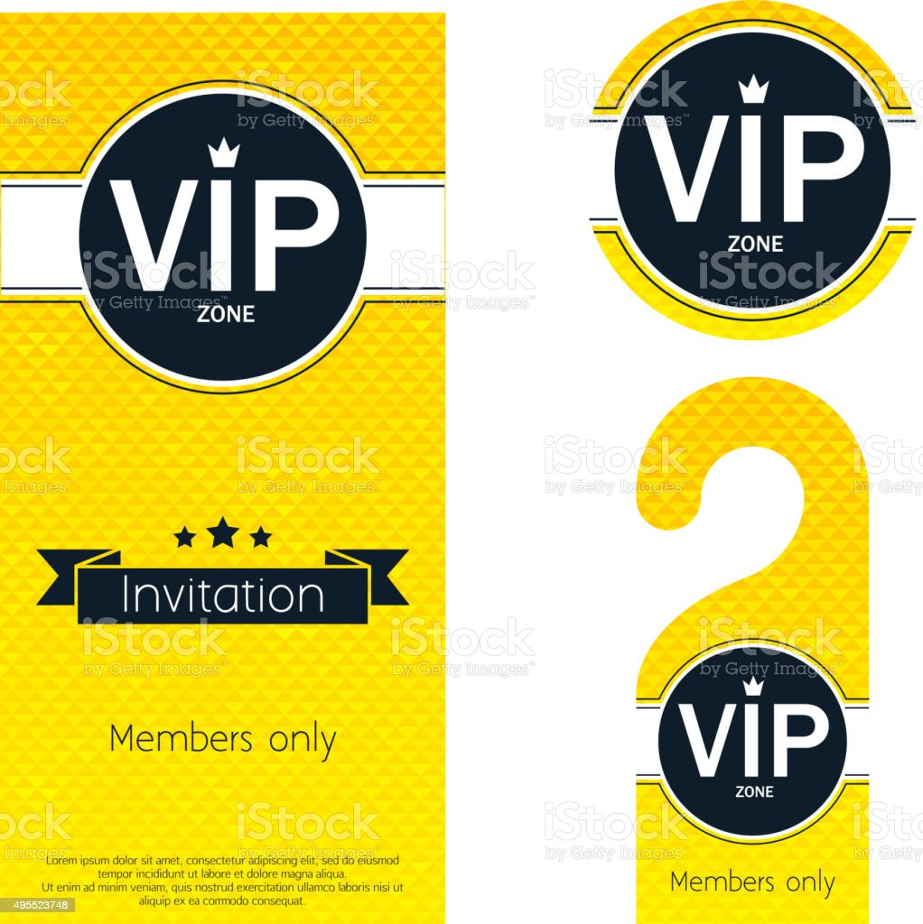 Vip Party Invitation Card Warning Hanger And Badge Stock Vector Art ...