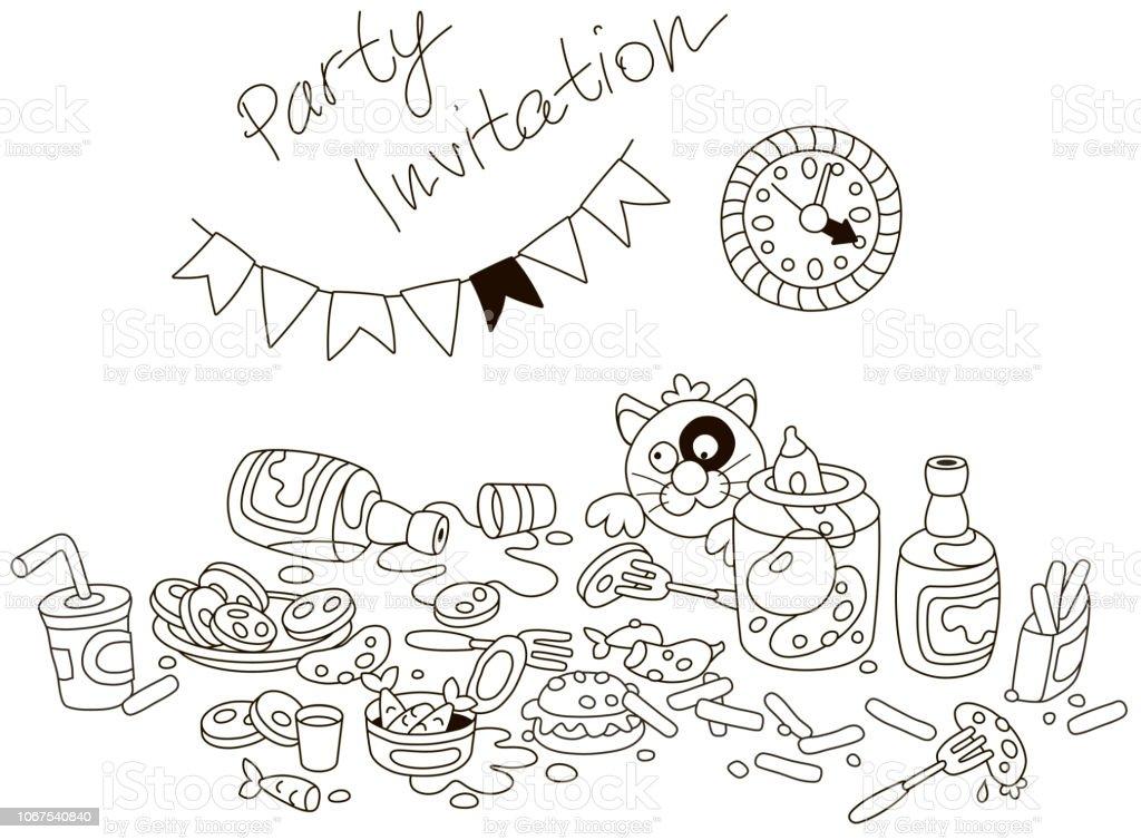 Ilustración De Tarjeta Invitación Fiesta Con Un Divertido