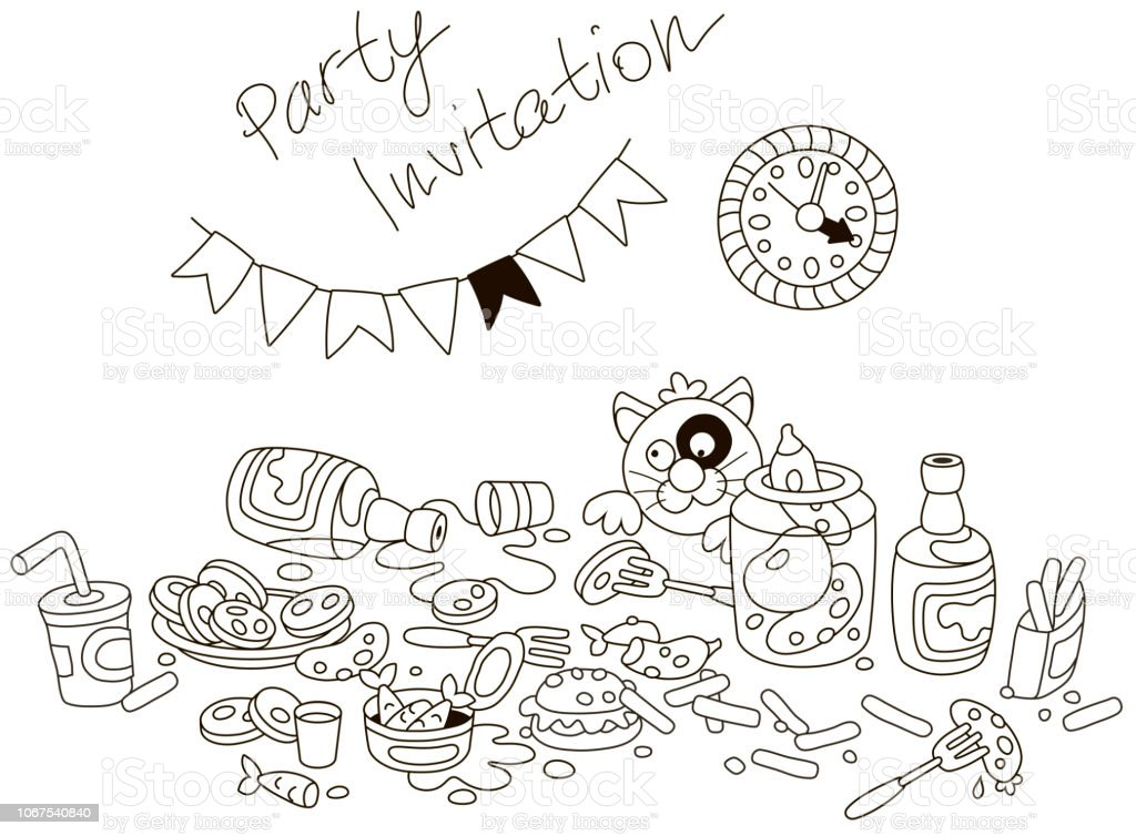 Party invitation card with a funny tipsy cat vector art illustration