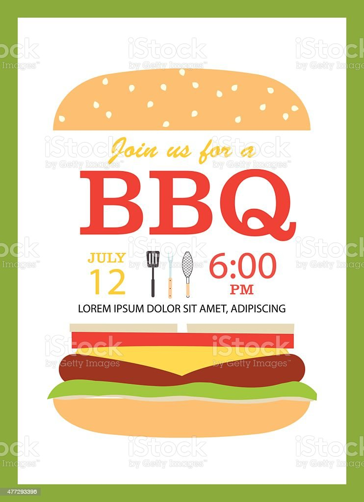 Bbq Party Invitation Card With Hamburger Stock Vector Art More