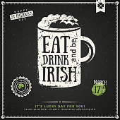 Party Invitation, Chalkboard Irish Beer Emblem