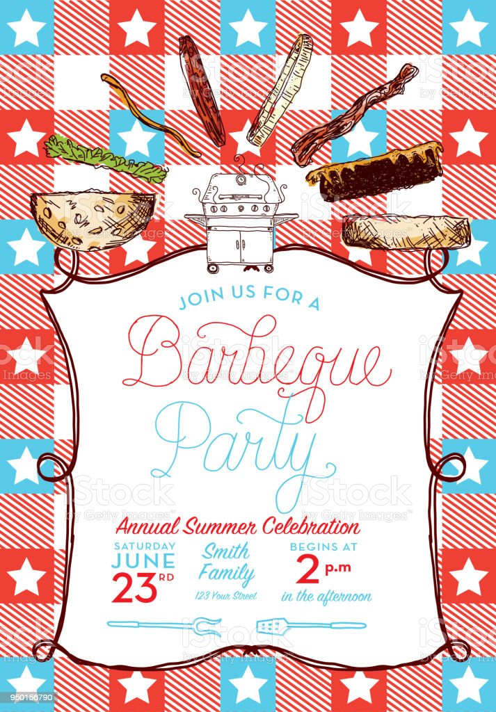 BBQ party invitation design template with hand lettered text vector art illustration