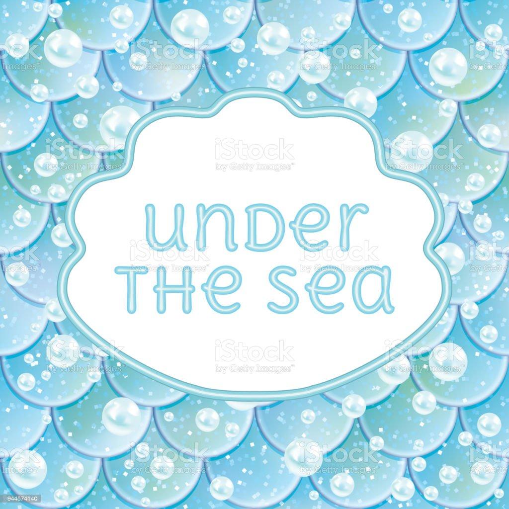 Party Invitation Glittered Fish Scales Kawaii Mermaid Stiker And