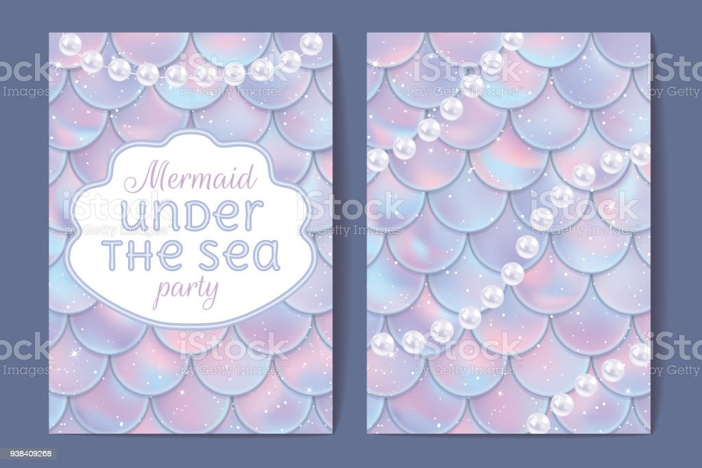 Party Invitation Holographic Fish Or Mermaid Scales Pearls And Frame ...