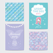 Party invitation. Holographic fish or mermaid scales, pearls and frame. Vector illustration
