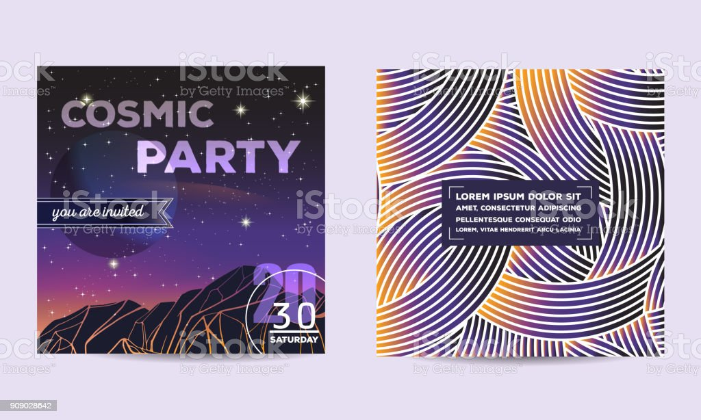 Party Invitation Poster Flyer Template Design With Geometric