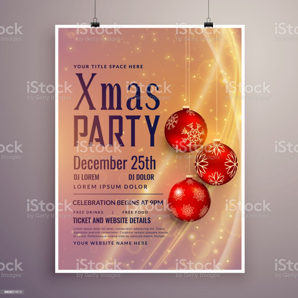 Party Invitation Template Design For Christmas Season Stock Vector