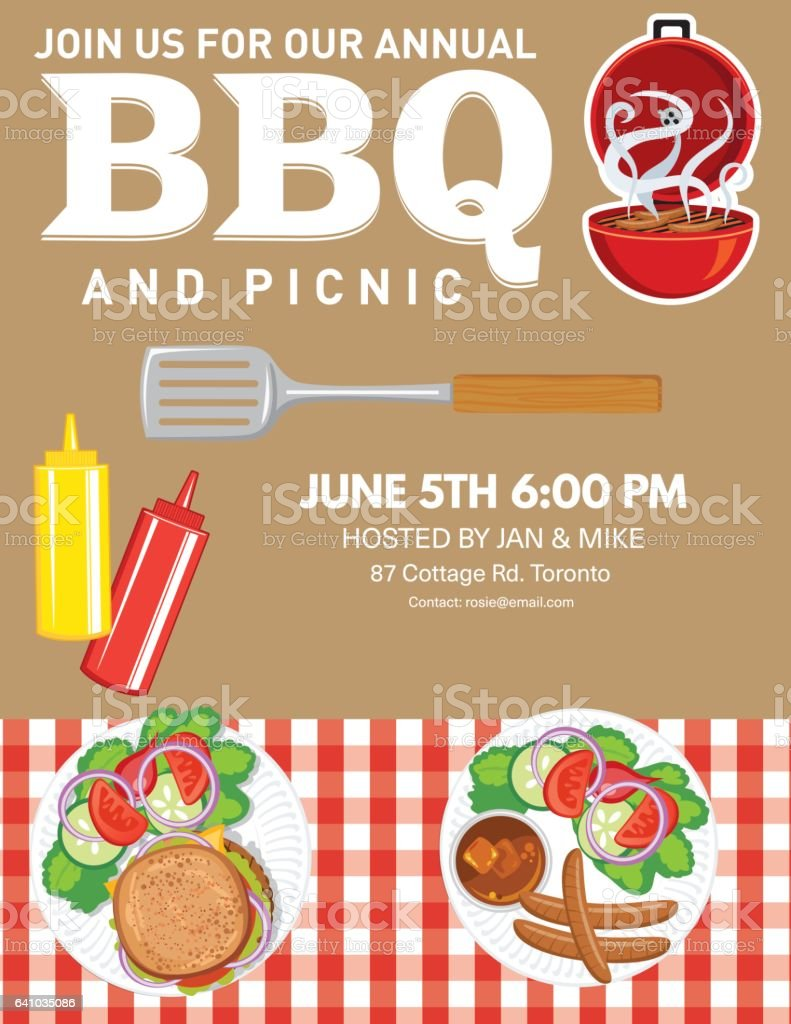 Bbq Party Invitation Template Stock Vector Art & More Images of ...