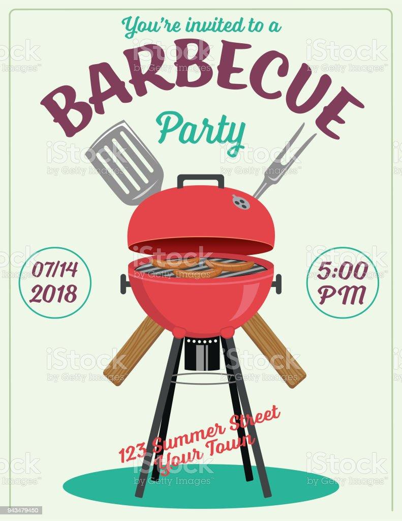 Bbq Barbecue Event Invitation Template Stockvectorkunst en